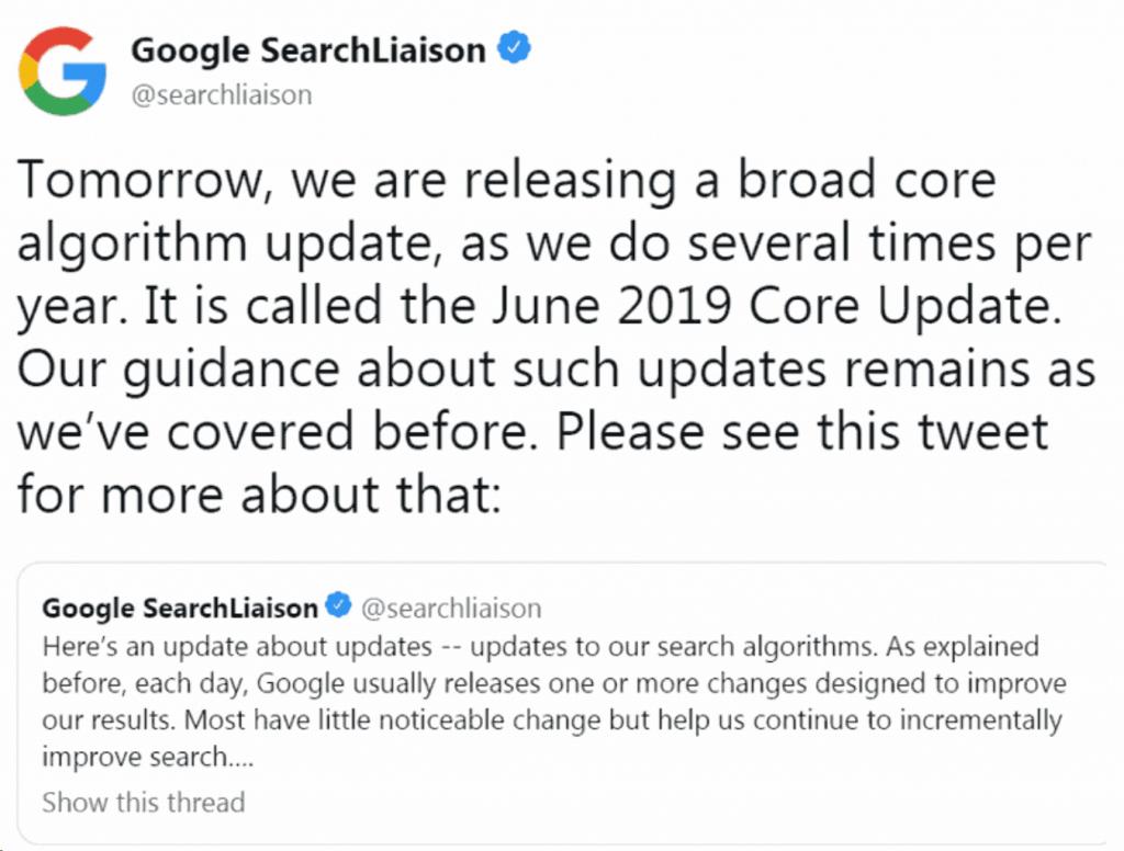 Aktualizaja algorytmu google 06.2019